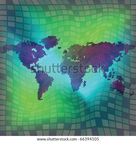 world map over squared background, abstract art illustration; for vector format please visit my gallery