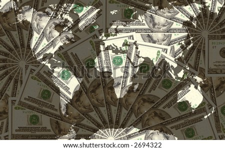 World map over US dollar bank notes - stock photo