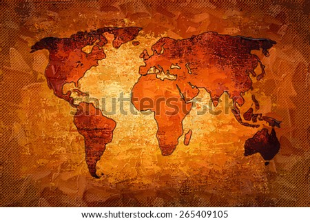 World map paint design art - stock photo