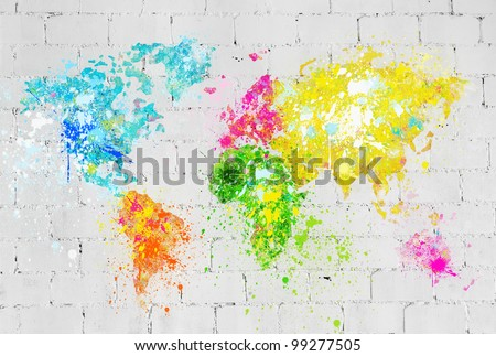 world map painting on brick wall - stock photo