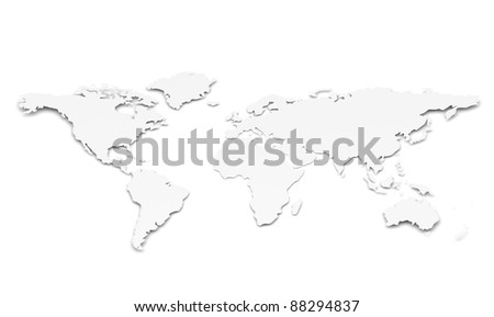 World Map. Paper Shape. A World Map in 3D. Paper Shape, thin and shallow. White - stock photo