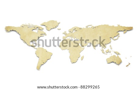 World Map. Paper Shape, Grunge. A World Map in 3D. Paper Shape, thin and Antique style.