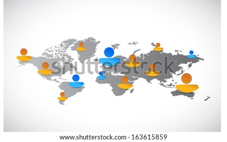 world map people network connection illustration design over white - stock photo