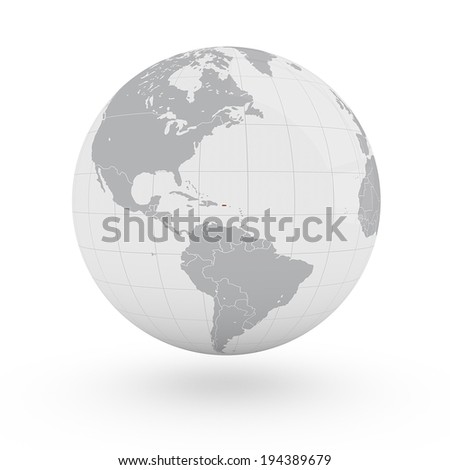World Map Puerto Rico America - stock photo