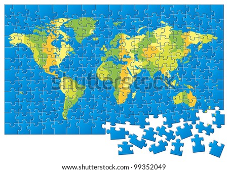 World Map Puzzle. Rasterized Version - stock photo