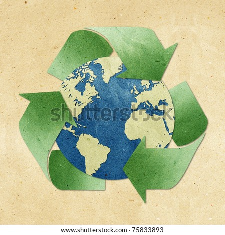 world map recycled paper craft  stick on old recycled background . Data source: NASA - stock photo