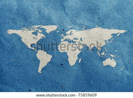 world map recycled paper craft  stick on old recycled background Data source: NASA - stock photo