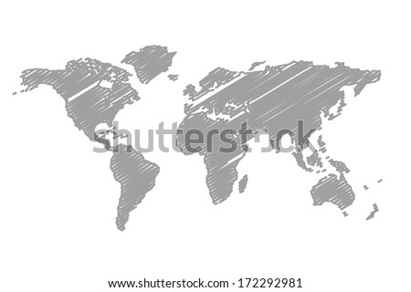 World map scribble style - stock photo