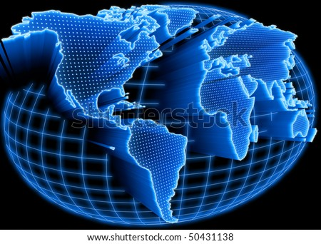 World map self illuminated. Concept of global information and technology of communication. - stock photo
