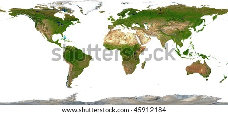 World Map Shaded Relief - Isolated on White - stock photo