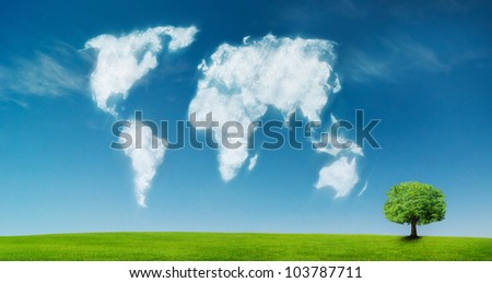 world map shaped by clouds