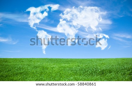 world map shaped by clouds - stock photo