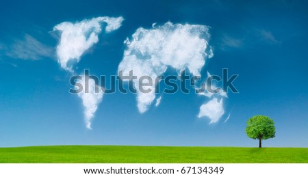 world map shaped clouds