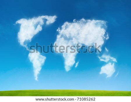 world map shaped clouds - stock photo
