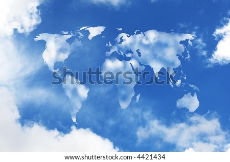 world map shaped clouds in the sky - stock photo