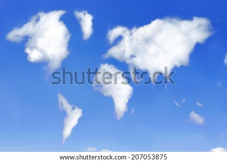 World map shaped from clouds on the sky