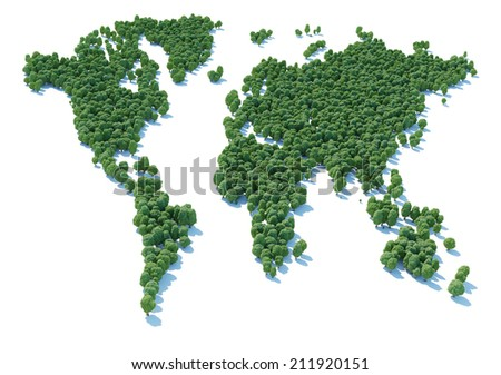 World map sign shaped forest viewed from above.  - stock photo