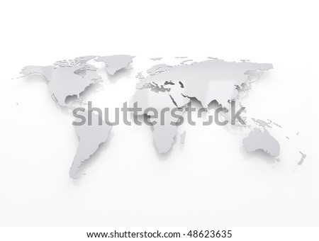 World map silver - stock photo