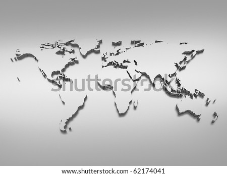 World map silver 3d illustration - stock photo