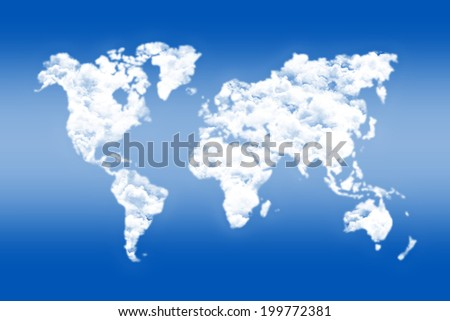 World map sky and clouds - stock photo