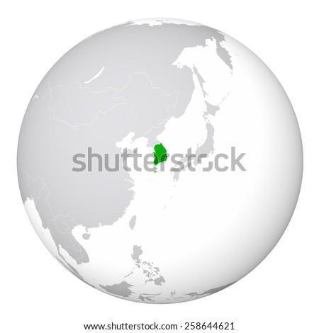 World Map - South Korea - stock photo
