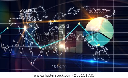 World Map Statistic Data Graph Dark Blue Finance Background 3D - stock photo