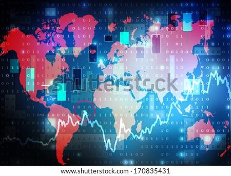 world map stock market background - stock photo