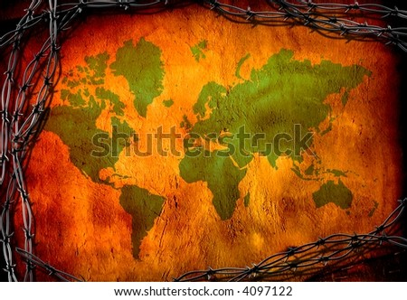 World Map surrounded by barbed wire - stock photo