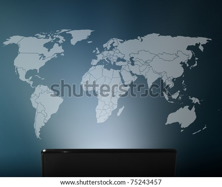 World map technology - stock photo