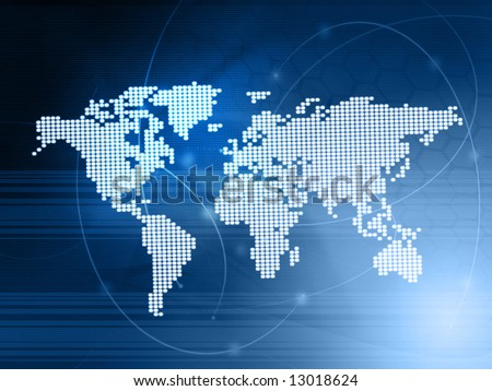 world map technology-style - stock photo