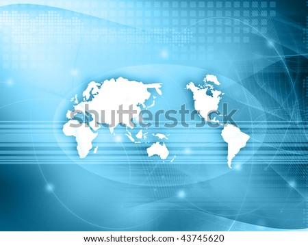 world map technology style - stock photo