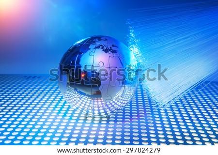 world map technology style against fiber optic background - stock photo