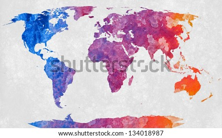 World map textured colorful abstract acrylic stock illustration world map textured with a colorful abstract acrylic painting gumiabroncs Images