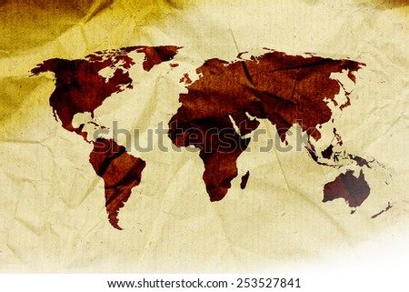 world map vintage paper pattern  - stock photo