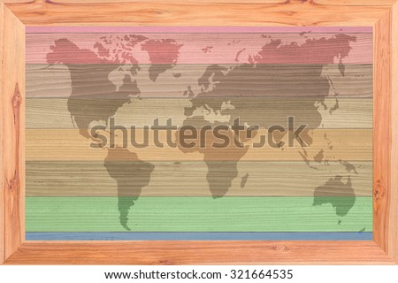 world map vintage pattern Wood plank brown texture background - stock photo