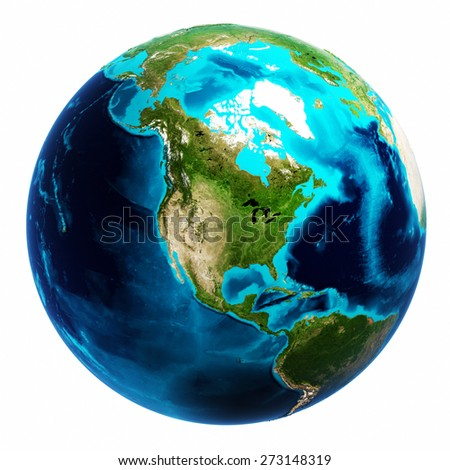 World map white isolated. Elements of this image furnished by NASA - stock photo