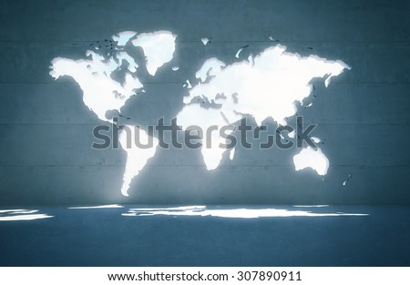 World map window in concrete wall - 3D render - stock photo