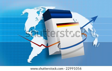 World map with a Calender with a German Flag - stock photo