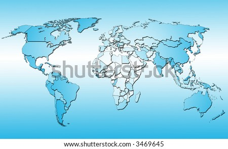 World map with all countries. Blue background - stock photo