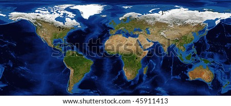 World Map with Bathymetry and snow cover in Spring. Data Source: NASA - stock photo