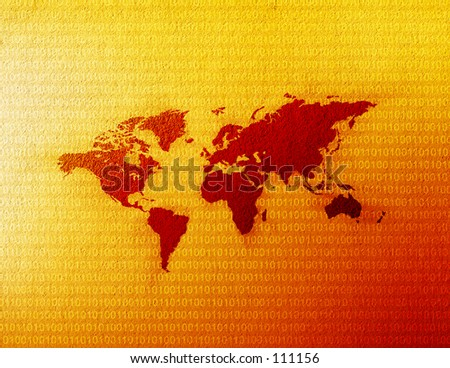 World map with binary code behind it. - stock photo