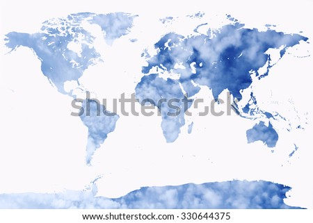 world map with blur cloud spread on blue sky background - stock photo