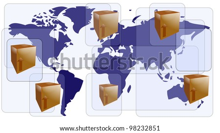 World map with boxes for international shipment - stock photo