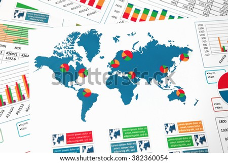 World map charts graphs diagrams report stock photo royalty free world map with charts graphs and diagrams report gumiabroncs Image collections