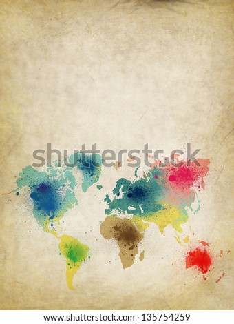 world map with colorful splash on old paper - stock photo