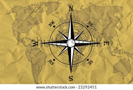 World map with compass - stock photo