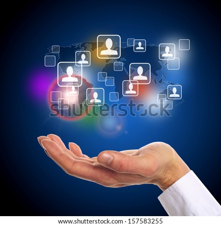 world map with contact icons as symbol of international communication - stock photo