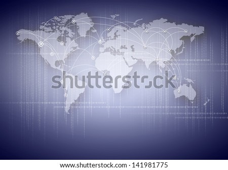 World map with continents on the illustration background