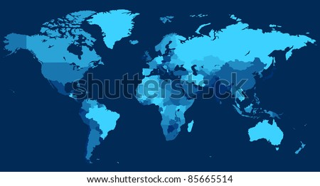 World map with countries on blue background.