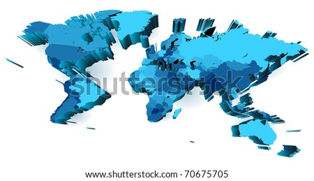 World map with countries. Raster version. Vector version is also available. - stock photo